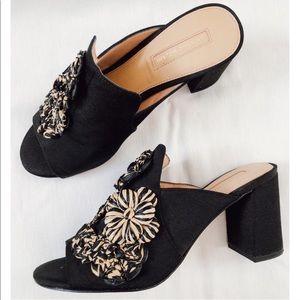Antonio Melani Barna Raffia Flowers Black Mules 8